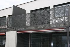 Balcony / patio railing: Formboard perforation one-family house from BRUAG Patio Railing, Balcony Railing Design, Railings, Facade Design, House Design, Building An Addition, Balkon Design, Exterior Cladding, Deck