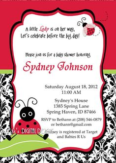 lady bug baby shower invitations damask or solid background options printable