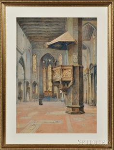 Federigo Pedulli (Italian, b. 1860)      Interior of the Basilica of Santa Croce, Florence