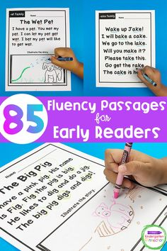 Kindergarten Reading - fluency pages. With a focus on CVC word families, CVCe word families, and sight words, these story passages and fluency phrases are perfect for your early readers and will build up their confidence too! #kindergartenreading #earlyreading #fluency #teachingkindergarten #readingcenters #kindergartenliteracy Kindergarten First Day, Kindergarten Literacy, Literacy Activities, Reading Fluency, Reading Centers, Cvc Word Families, Cvce Words, Read Aloud Books, Early Reading