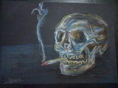 smoking skull - pastel