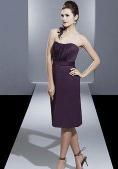 Sheath/ Column Knee Length Sweetheart Natural Waist Satin With Ruching Bridesmaid Dress - Angeldress.co.uk