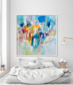 Large Art Painting PRINT, GICLEE print, abstract painting, large wall art with blue pink and yellow, Duealberi - Abstract Paintings - Large wall Art - Prints for home and office decor Large Painting, Painting Prints, Wall Art Prints, Painting Abstract, House Painting, Extra Large Wall Art, Large Art, Large Canvas, Grand Art Mural