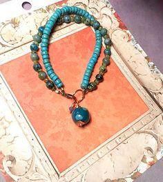 Dyed Quartz Peridot and Dyed Wood Bracelet by Justatishdesigns