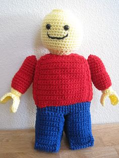 Crocheted Lego Mini-figure. I can think of a little boy, and a few adults, who would love this as a bitrhday present.