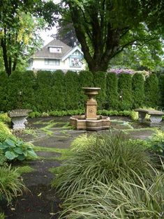 flagstone and moss patio with privacy shrubs