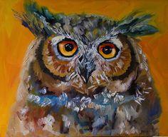 Whhho Owl by Diane whitehead Oil ~ 30 x 24