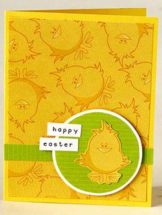 Let a cute spring-theme paper inspire your card design. The fun yellow chicks were too cute to use only as the background, so Melissa trimmed one out from the sheet with a craft knife. She adhered it to a green punched circle mounted on white cardstock. A band cut from the same green paper anchors the circle on the page.