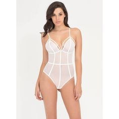 It's A Secret Sheer Bodysuit ($25) ❤ liked on Polyvore featuring intimates, shapewear and white