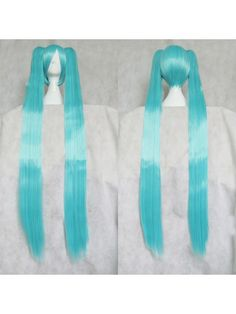 Vocaloid Miku Aqua Blue Split Type Cosplay Wigs with Two Braids Hair Style: Split type wigs Role: Vocaloid Miku Material: High Temperature Heat Resistant Synthetic Fibre ( Freely Shape, Heat Resistant up to 180°) Length: mainly 35cm (13.78)  + 120cm (47.25) clip on separately braids Color: Aqua Blue Occasion: Custumes, Cosplay, Holiday, Party $23.80 MAGGIE GET THIS SOON