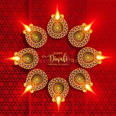 With gold diya patterned and crystals on paper color , Happy Diwali festival card. With gold diya patterned and crystals on paper color ,