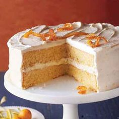 Reminiscent of a soufflé dessert, this cake recipe combines luscious orange filling with whipped cream.