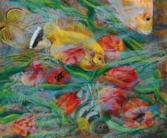 Remembering Granny's Coffer   Acrylic Semi Figurative Painting   Fish   Original Acrylic Painting   Dora Stork   Encaustic Artist Red Tulips, Red Flowers, Original Paintings, Original Art, Acrylic Paintings, Abstract Expressionism, Abstract Art, Yellow Fish, Stork