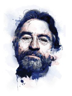 Andre Pessel , Robert de Niro in Blue watercolors on Esquire cover
