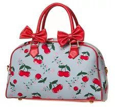 CHERRY and BOW Handbag BYBANNED Shoulder Bag 50s Retro Rockabilly Light Blue Red