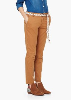 Straight cotton trousers - Trousers for Women | MANGO