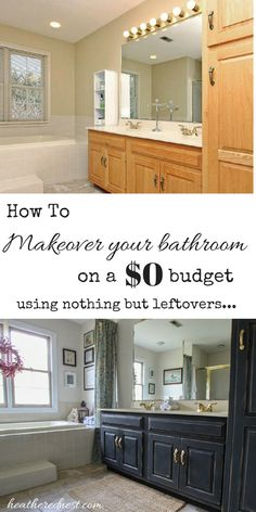 Come see this $0 bath makeover using nothing but leftovers NOW at Heathered Nest!!