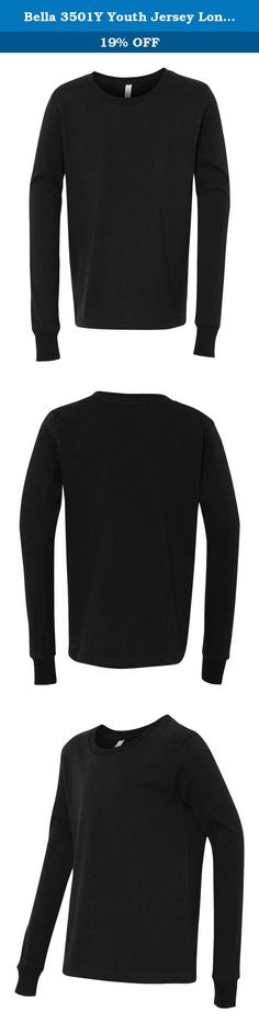 Bella 3501Y Youth Jersey Long Sleeve Tee - Black, YM. 4.2 oz., 100% combed and ringspun cotton; 30 singles; Dark Grey Heather is 52% combed and ringspun cotton, 48% polyester; Triblends -50% poly, 25% combed ringspun cotton, 25% rayon, 40 singles, 3.4 oz.; retail fit; sideseamed; ribbed cuff;.