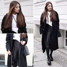 Thao Nhi Le - Zara Plissee Skirt, Hugo Boss Platform Oxford, Other Stories Long Coat - Plissee