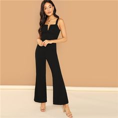 a0d4ef3032a Black Casual Backless Solid V Notch Front Flare Leg Mid Waist Sleeveless Jumpsuit  2018 Summer Fashion