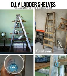12 ways to re-purpose ladders.  Pictured is the one I like the best: vertical shelves for books.