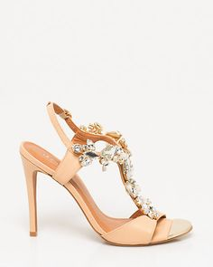 Brazilian-Made Leather T-Strap Sandal - Large, chunky jewels adorn this T-strap sandal for shimmering and alluring appeal.