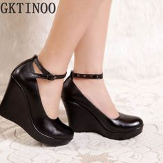 28.52$  Buy now - Women's genuine leather platform shoes 2017 newest fashion high heels wedges shoes women pumps  #aliexpress