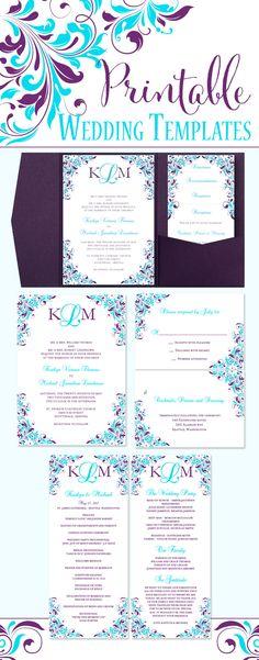 Purple And Blue Wedding Invitations Bridal + Wedding Pinterest - how to make invitations on word