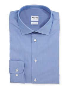 "Modern Fit Textured Tonal-Striped Dress Shirt, Blue, Size: 16"" - Armani Collezioni"