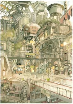 The Art Of Animation, TekkonKinkreet by Imperial Boy (Teikoku Shounen) Animation Background, Art Background, Art And Illustration, Fantasy Landscape, Fantasy Art, Bg Design, Image Manga, Environment Concept Art, Environment Design