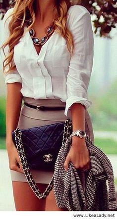 Women style clothing fashion outfit office white top skirt mini handbag watch jacket blazer necklace summer HUMPhooks = purse hooks www.humphooks.com