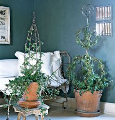 Easy Ivy Topiaries for the home: twist and twirl English Ivy around a simple wire form for a living sculpture you can make in less than an hour. Tips on how to plant, scale, and design your topiary.
