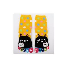 Thick Cotton Long Tube Cartoon kitten Toes Socks (26 RON) ❤ liked on Polyvore featuring intimates, hosiery, socks, yellow, patterned socks, print socks, cotton sports socks, tube socks and thick socks