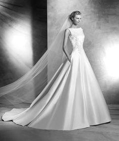 Vigi, wedding dress with gemstone embroidery,  bateau neckline, classic style