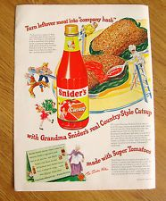1947 Snider's Catsup Ad  Turn Leftover Meat into Company Hash
