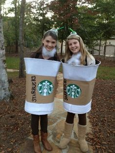 DIY Starbucks Halloween Costume!   Its a laundry hamper covered in white felt and brown craft paper wrapped around it with a printed starbucks logo and handwritten words on the paper like the actual Starbucks cup! On the inside is suspenders clipped on to hold the costume up! There's also a clear, plastic headband with a frapp lid hotglued on with a green straw inside.