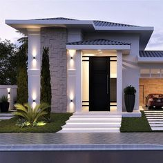This is a unique home design minimalis for your home. Modern Small House Design, Classic House Design, Minimalist House Design, Bungalow House Design, House Front Design, Dream House Exterior, Dream House Plans, Morden House, Modern Architecture House