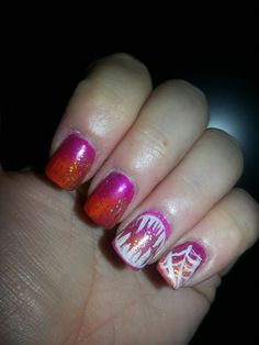 Inspired by Robin Moses Nail Art, Neon Orange & Pink Ombre Halloween. ♥