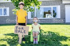Young boy putting his sister for sale in a garage sale during a summer day royalty-free stock photo Cute Young Girl, Young Boys, Royalty Free Images, Royalty Free Stock Photos, Funny Family Christmas Cards, Kidnapped Girl, Kids Ties, Image Nature, Preteen Girls Fashion
