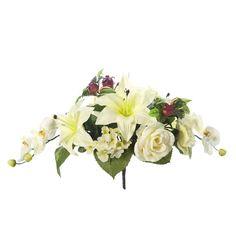 Ramos Todos los Santos. Ramo de cementerio con flores artificiales. Compuesto de liliums y rosas amarillas con orquideas florecillas y hojas relleno. Alto 28 cm