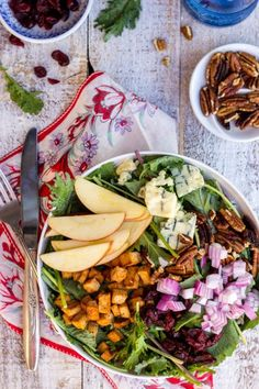 Blue Cheese, Apple, Pecan & Cranberry Salad with Smoky Tofu!  A great vegetarian Salad!