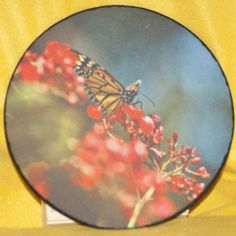 "Mousepad measures 9"" in diameter, 1/4"" thick.  Polyester top with a rubber bottom."
