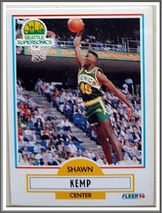 4e58b2a62eb3 Shawn Kemp Fleer 1990 NBA Sports Trading Card  178 Seattle Supersonics   SeattleSupersonics