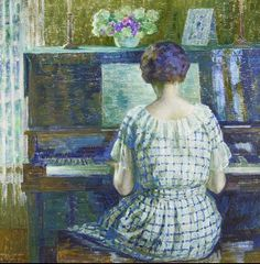 At the Piano. Louis Ritman (American, Oil on canvas. Known primarily for his sunny, impressionist landscape paintings, often with figures, Ritman earned much of his reputation for the work. Music Painting, Art Music, Impressionist Landscape, Landscape Paintings, Piano Art, Playing Piano, American Artists, Canvas Art Prints, Illustration