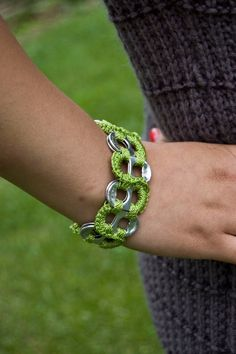 Citrus Green and Gold Pop Tab Upcycled Crochet Bracelet by Flor7