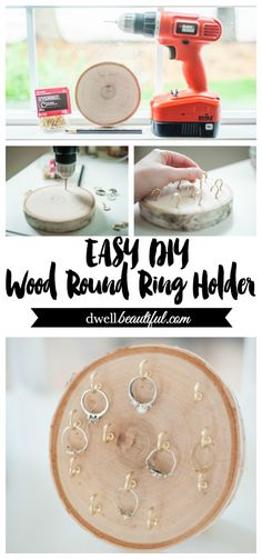 Always misplacing your rings or even forgetting about them in a jewelry box? Keep them in reach and on display with this gorgeous DIY wood round ring holder! Perfect for a wedding or Christmas gift. Diy Jewelry Holder Tree, Jewelry Box, Jewelry Storage, Jewelry Crafts, Wedding Jewelry, Silver Jewelry, Bois Diy, Diy Holz, Wood Rounds