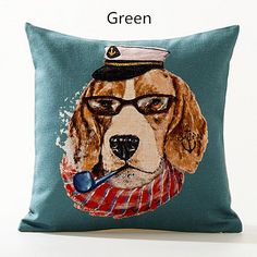 Dog decorative pillows Creative smoking animal cushions for home