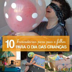 10 dicas de brincadeiras diferentes para surpreender os filhos de todos as idades e fazer de um dia comum uma memória muito especial. Sugestões de atividades para fazer em casa ou ao ar livre.