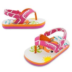 aec56c3d070e Disney store finding nemo flip flops baby girl bright color canvas straps  nwt
