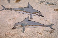 Dolphins-painted ornament, fresco from the Knossos Palace (Greece). Minoan Civilization